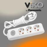 Удл. ViKO 3 гнезда с заземлением + выкл. / 3м