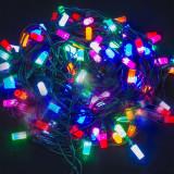 Гирлянда _WLZ _F№46 _(WLZ-13) _(10м, 80 ламп) _цветная крупная лампа, белый шнур, свеча