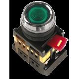 Кнопка ABLF-22 зеленый d22мм неон/230В 1з+1р