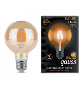 Лампа Gauss LED Filament G95 E27 6W Golden 2400K