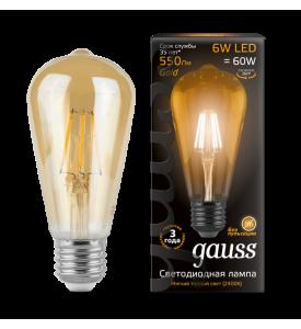 Лампа Gauss LED Filament ST64 E27 6W Golden 2400K
