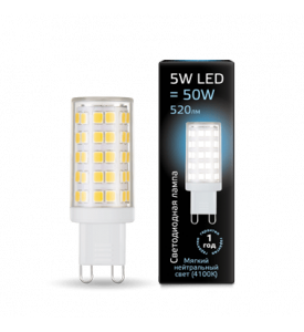Лампа Gauss Black LED  G9 AC185-265V 5W 4100K керамика 1/10/200