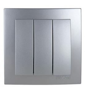 Nilson Touran Выключатель 3-кл с рамкой (серебро)