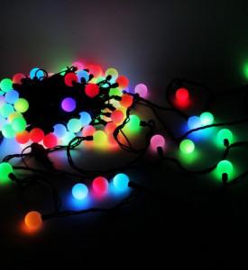 Гирлянда _WLZ _F№44 _(WLZ-11) _(10м, 80 ламп) _цветная крупная лампа, черный шнур