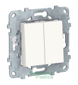 Unica new переключатель 2-клав, перекрестный, 2 x схема 7, 10 ax, 250 в, белый Schneider Electric