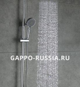 Душевая стойка Gappo G2402  (душ/система/смес. хром. излив/поворот. лейка/верх/душ)